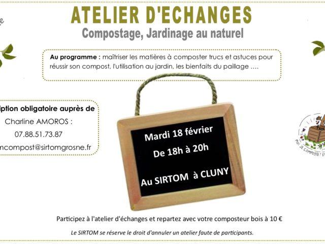 Atelier compostage – 18 février – 18h à 20h au SIRTOM à CLUNY